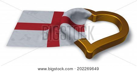 flag of england and heart symbol - 3d rendering