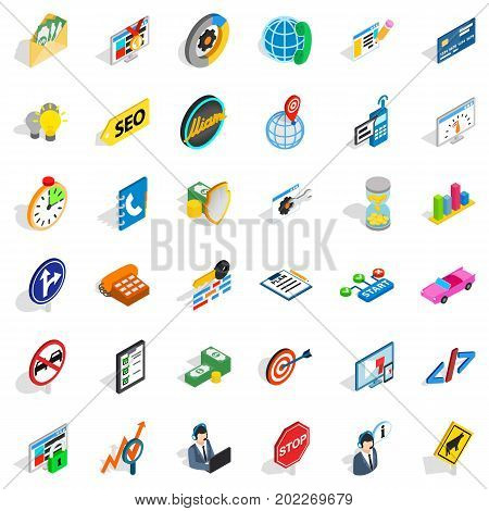 Usable icons set. Isometric style of 36 usable vector icons for web isolated on white background