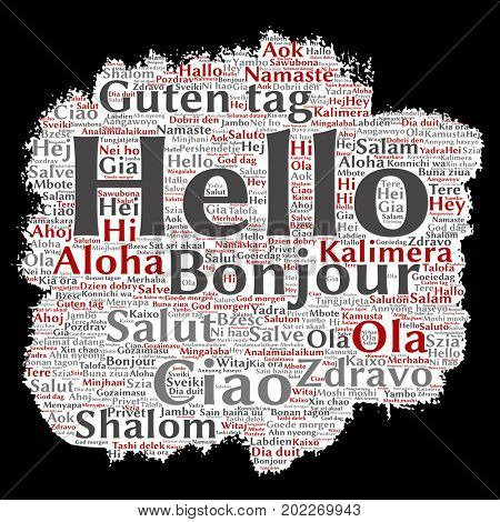 Concept or conceptual brush or paper hello or greeting international tourism word cloud in different languages or multilingual. Collage of world, foreign, worldwide travel, translate, vacation