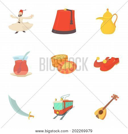 Turkey culture icons set. Cartoon set of 9 turkey culture vector icons for web isolated on white background
