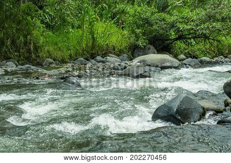 Rio Mindo, western Ecuador, river running through cloudforest at 1, 400m elevation.