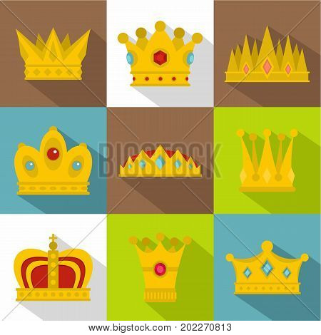 King crown icon set. Flat style set of 9 king crown vector icons for web design
