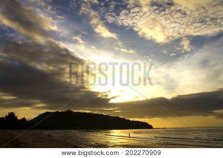 Sunrise and shadow island the beach Ban Krut Beach in Prachap Kirikhun Province Thailand is famous for travel