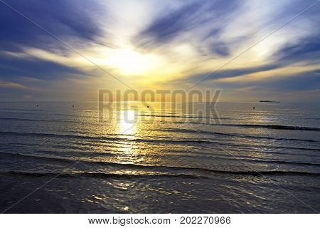The beach Thung Wua Lan Beach idyllic with sunshine morning at Chumphon Province Thailand is famous for travel