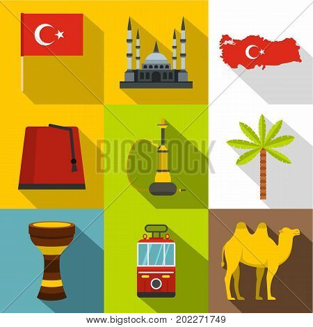Turkey things icon set. Flat style set of 9 Turkey things vector icons for web design
