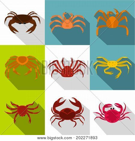 Various crab icon set. Flat style set of 9 various crab vector icons for web design
