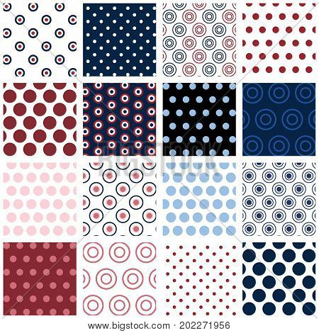 Polka Dots - 16 seamless polka dot patterns for digital paper, scrapbooking, invitations, announcements, gift wrap, backgrounds, borders and more.