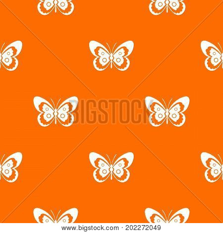 Butterfly pattern repeat seamless in orange color for any design. Vector geometric illustration