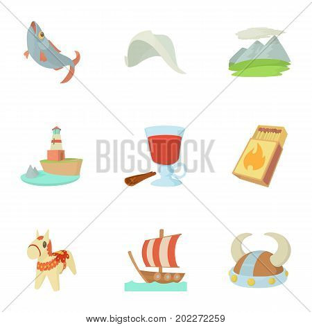 Scandinavian icons set. Cartoon set of 9 scandinavian vector icons for web isolated on white background