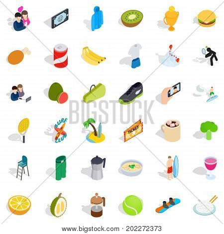 Vigorous icons set. Isometric style of 36 vigorous vector icons for web isolated on white background