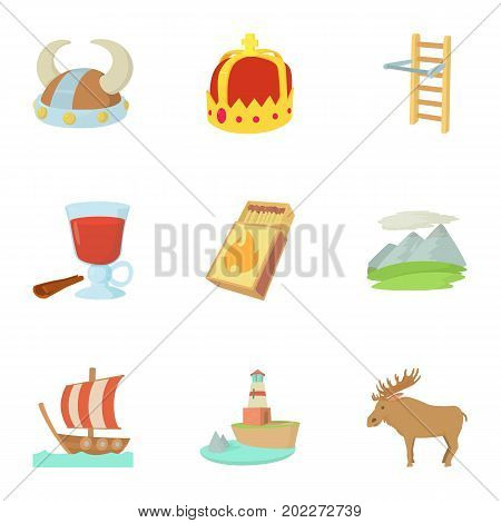 Scandinavia life icons set. Cartoon set of 9 scandinavia life vector icons for web isolated on white background