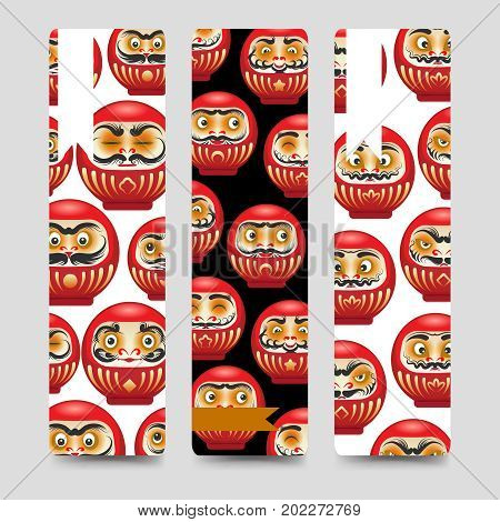 Japanese red daruma dolls bookmarks collection, vector illustration