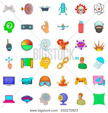 Virtual icons set. Cartoon style of 36 virtual vector icons for web isolated on white background