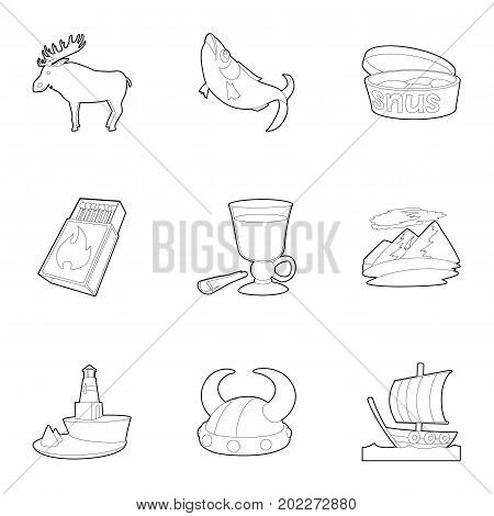Rural icons set. Outline set of 9 rural vector icons for web isolated on white background