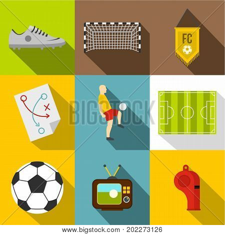 Football icon set. Flat style set of 9 football vector icons for web design