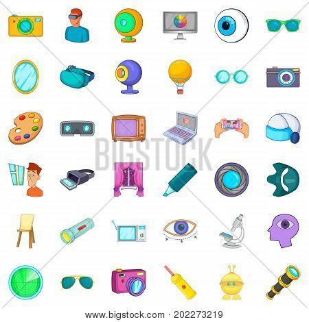 Eye icons set. Cartoon style of 36 eye vector icons for web isolated on white background