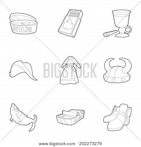 Scandinavian icons set. Outline set of 9 scandinavian vector icons for web isolated on white background