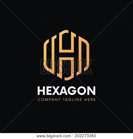 Clean Luxury H Letter Logo Hexagon Linear Sign Vintage Design.