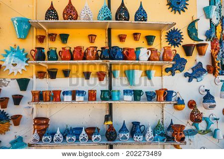 Traditional Cretan Painted Ceramic Dishes, Crete, Greece