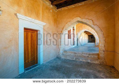 Passageway In The West Gate At The Arkadi Monastery, Arkadi, Crete, Greece
