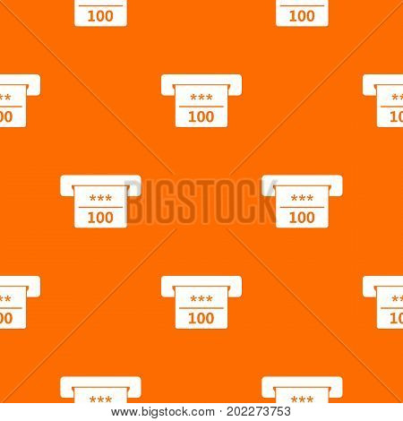 Winning cheque in casino pattern repeat seamless in orange color for any design. Vector geometric illustration