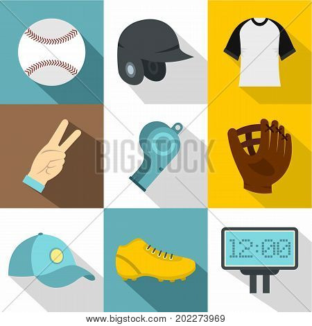 Baseball championship icon set. Flat style set of 9 baseball championship vector icons for web design