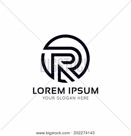Clean R Letter Circle Logo Sign Vector Design.