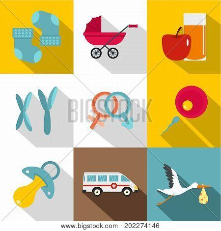 Newborn icon set. Flat style set of 9 newborn vector icons for web design