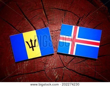 Barbados Flag With Icelandic Flag On A Tree Stump Isolated