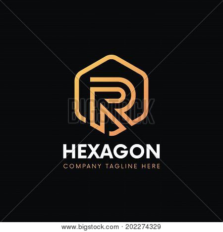 Luxury R Letter Hexagon Logo Linear Icon Sign Vintage Design.