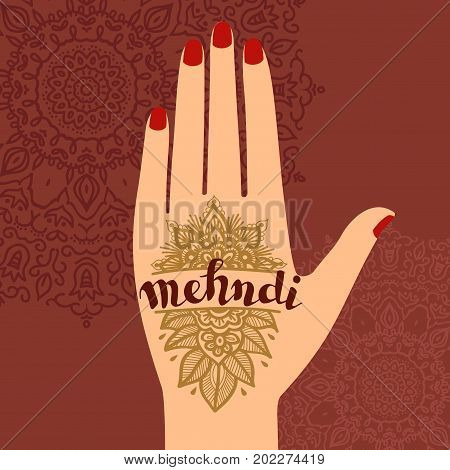 Element yoga mudra hands with mehendi patterns. Vector illustration for a yoga studio, tattoo, spas, cards, souvenirs. Indian traditional lifestyle.