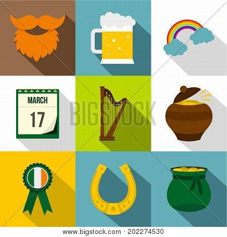 St. Patrick holiday icon set. Flat style set of 9 St. Patrick holiday vector icons for web design