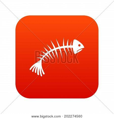 Fish bones icon digital red for any design isolated on white vector illustration