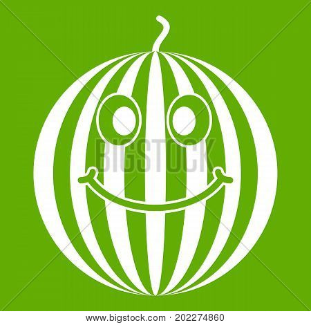 Ripe smiling watermelon icon white isolated on green background. Vector illustration