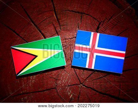 Guyana Flag With Icelandic Flag On A Tree Stump Isolated