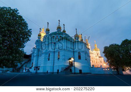 Refectory Cathedral of the Kiev-Pechersk Lavra, Kiev, Ukraine. Tourist and religious landmark. Ancient shrine of Orthodoxy