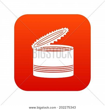 Open tin can icon digital red for any design isolated on white vector illustration