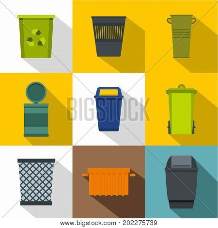 Trash can icon set. Flat style set of 9 trash can vector icons for web design