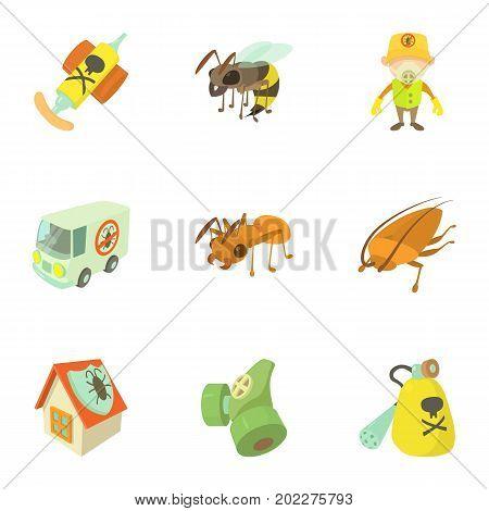 Pest extermination icons set. Cartoon set of 9 pest extermination vector icons for web isolated on white background