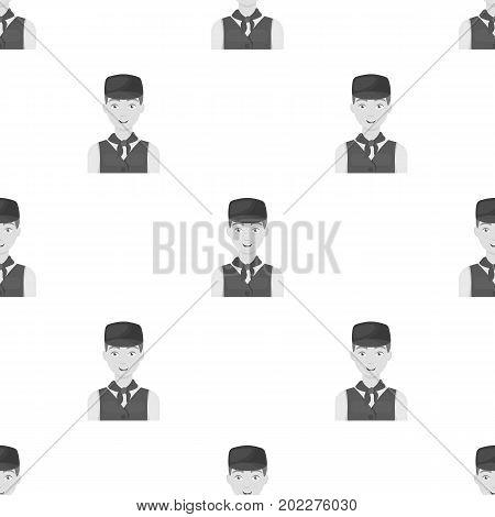 Belgian guy in a cap and waistcoat.The dark Belgian wolf. Belgium single icon in monochrome style vector symbol stock web illustration.