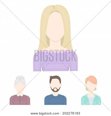 A man with a beard and mustache, a red-haired girl, an old woman, a blonde.Avatar set collection icons in cartoon style vector symbol stock illustration .