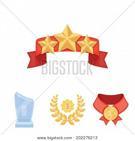 Winner for the first place in the competition, a crystal prize, a ribbon with the stars, a medal on the red ribbon.Awards and trophies set collection icons in cartoon style vector symbol stock illustration .