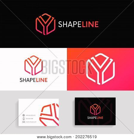 Abstract Y Logo Linear Hexagon Sign With Brand Business Card Vector Design.