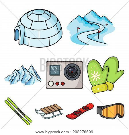 Ski resort set icons in cartoon style. Big collection of ski resort vector symbol stock