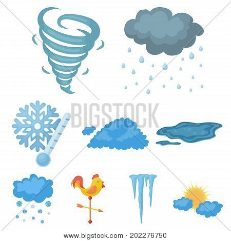 Weather set icons in cartoon style. Big collection of weather vector symbol stock