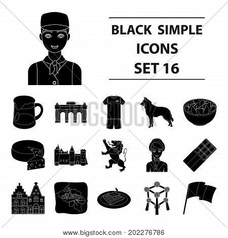 National, flag, clothing and other Belgium attributes .Belgium set collection icons in black style vector symbol stock illustration.