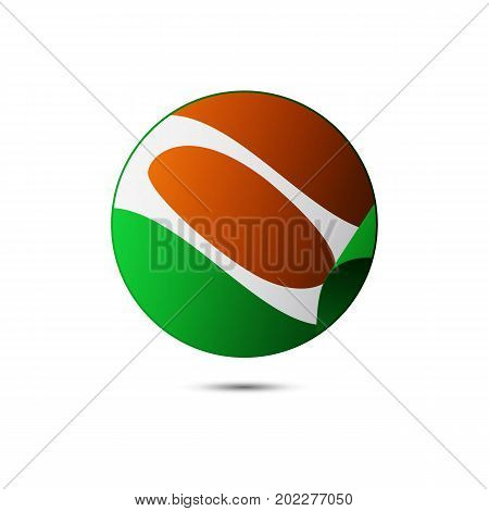 Niger flag button with shadow on a white background. Vector illustration.