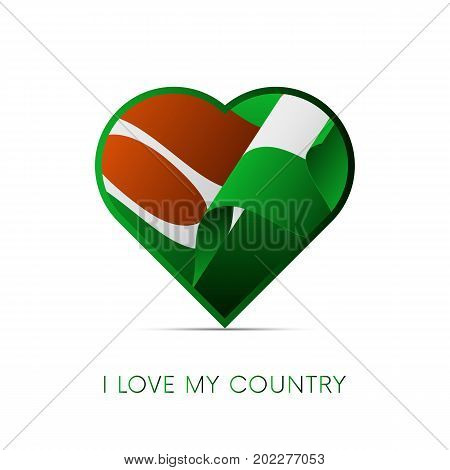 Niger flag in heart. I love my country. sign. Vector illustration.