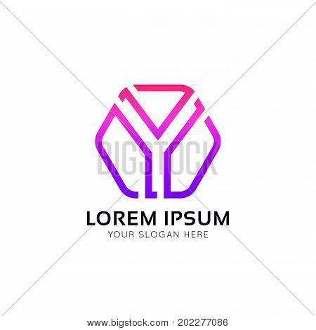 Abstract Y Letter Hexagon Sign Linear Logo Vector Design.