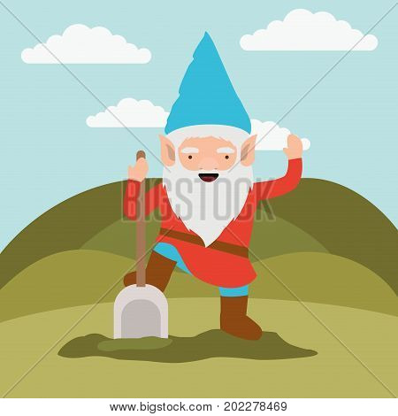 gnome fantastic character with shovel in mountain landscape background vector illustration